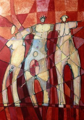 Lubomir Korenko; THE THREE GRACES, 2014, Original Mixed Media, 70 x 100 cm. Artwork description: 241 Mixed media on canvas techniques. the Painting continue on the side of the painting...