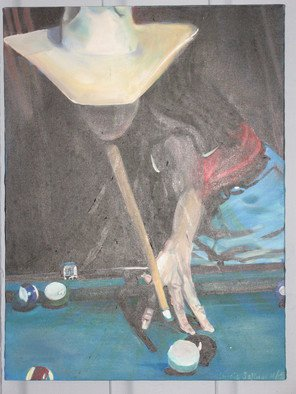Cherie Salinas; Calm Before The Storm, 2012, Original Painting Oil, 18 x 24 inches. Artwork description: 241   This oil painting would look great in your game room!  I love how this woman donning her cowboy hat looks strong and in control as she fixes her gaze on the pool table. ...