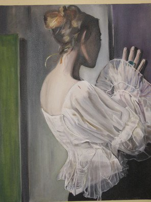 Cherie Salinas; Mother Looking In, 2012, Original Painting Oil, 24 x 36 inches. Artwork description: 241  Woman wearing an emerald ring.  She is wearing delicate irredescent blouse.  She is the epidemy of femininity.  This oil painting has greens and purples. ...