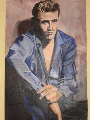 Cherie Salinas; Rebel Without A Cause, 2012, Original Painting Oil, 36 x 40 inches. Artwork description: 241   This oil painting of Jimmy Dean shows a man who knows he's cool.  He is relaxed in his blue denim with his ciggarette. ...