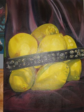 Cherie Salinas; Spiked Lemons, 2012, Original Painting Oil, 24 x 36 inches. Artwork description: 241  This oil painting is an eclectic still life of lemons sporting a spiked collar.  The background is purple which compliments the bright yellow lemons. ...