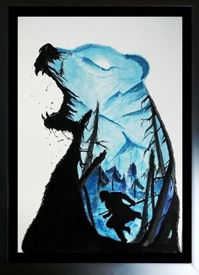 Pushkar Saxena; Winters, 2017, Original Painting Acrylic, 15 x 19 inches. Artwork description: 241 Amazing art of a bear and a ninja through winters.  3...
