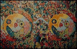 Pygoya Rodney Chang-Phd; Homage to John Lennon, 1989, Original Painting Oil, 72 x 48 inches. Artwork description: 241 The Beatles was Rodney Chang' s favorite band.  Here John Lennon' s famous spectacles are rendered in the artist' s self- proclaimed Pixelism style.  Note the  skull- like smile on the lenses. Oil painted squares to represent the pixelated appearance of low resolution PCs of the 80s - ...