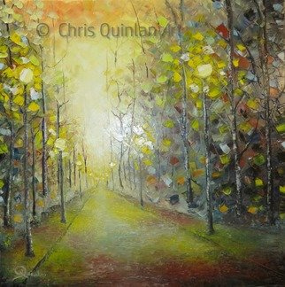 Chris Quinlan; Emerald Dream, 2017, Original Painting Oil, 24 x 24 inches. Artwork description: 241 An Impression of a tree lined avenue with street lights, this painting was created from fragments of memories, with no particular place in mind.The street lights reveal the moss on this almost forgotten road. I feel although lit by lamps it will never be travelled on ...