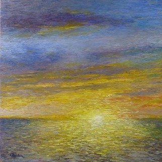 Chris Quinlan; Evenings End, 2017, Original Painting Oil, 24 x 24 inches. Artwork description: 241 This impressionistic painting is painted from a memory of a evening in Gibraltar.  Magical colours fell on the calm sea around the island.  I think the high rock behind me almost acted like a mirror, trapping and reflecting the colours back towards the sunset creating an even ...