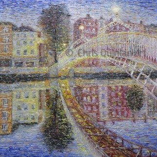 Chris Quinlan; Ha Penny Bridge Dublin, 2017, Original Painting Oil, 24 x 24 inches. Artwork description: 241 A painting of the bridge over the River Liffey in the heart of Dublin City.  This very characteristic two hundred year old bridge was a a toll bridge for 100 of those years and the fee was a halfpenny.  The bridge was closed for repair and renovations ...