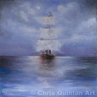 Chris Quinlan; Into The Blue, 2016, Original Painting Oil, 24 x 24 inches. Artwork description: 241 A warm impression painting using cold colours, This is the second seascape I have completed. Into the blue is a night time painting from a memory of an eighteen hour ferry crossing from Ireland to France in 2016. The moonlight skipped across the still water reflecting even ...