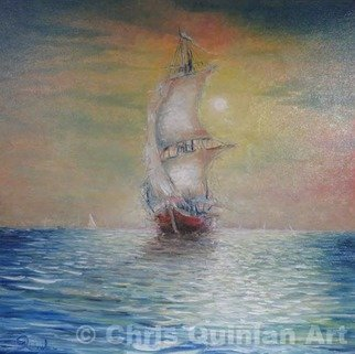 Chris Quinlan; Sail Away, 2017, Original Painting Oil, 24 x 24 inches. Artwork description: 241 I have always wanted to paint a ship on a sunset ocean.  I love painting sunsets and ocean scenes.  I was 21 years old before I set foot on a ferry and was terrified and excited, a similar feeling to when I painted this first seascape.  The ...