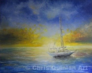 Chris Quinlan; Sail Away, 2016, Original Painting Oil, 40 x 32 inches. Artwork description: 241 A piece painted from my memories of travelling to Thailand with its beautiful Islands, seas and sunsets, I saw a yacht just drifting near the shallow shores of the phi Phi islands.  The sunset was so warm and colourful, it made the white vessel blend into the ...