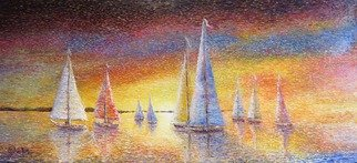 Chris Quinlan; Sail Out, 2017, Original Painting Oil, 58 x 26 inches. Artwork description: 241 Sail Out, a Seascape impressionism painting by Chris Quinlan Irish artist, An original impressionism oil painting of a sail boat race about to set off, A colourful water scape painting by Chris Quinlan impressionist artist.  original oil painting...