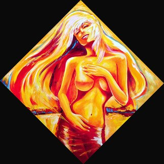 David Smith; Golden Dancer, 2013, Original Painting Acrylic, 100 x 100 cm. Artwork description: 241   Woman, Lady, beautiful, glamour, model, dancing,joy, love, nude, sunlight   ...