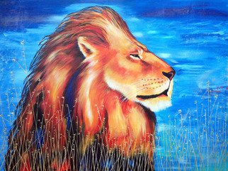 David Smith; Majestic Lion, 2013, Original Painting Acrylic, 122 x 100 cm. Artwork description: 241  Majestic Lion, King of the Wild, Yellow, Gold, African, Jungle, Cat, ...