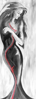 David Smith; Model Of Grace, 2013, Original Painting Acrylic, 35 x 145 cm. Artwork description: 241  Woman, Lady, beautiful, glamour, model, dancing,joy, love. black and white, tall    ...
