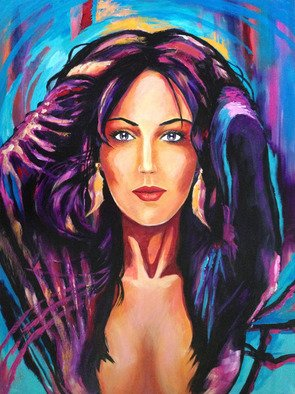 David Smith; Purple Feather Woman, 2013, Original Painting Acrylic, 75 x 100 cm. Artwork description: 241  Purple Feather Woman, Glamour, Colourful Beautiful ...