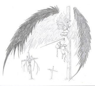 Samuel Grounds; Degeneration Of An Angel, 2007, Original Drawing Pencil, 11 x 8 inches. Artwork description: 241  The image is of an Angel who hasn't been particularly fortunate and has been taken and placed upon a cross. Other crosses and the remains of another angel can be seen in the background. ...