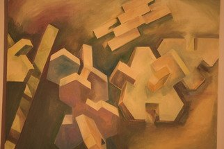 Racheal Yang; Flying Bricks, 2008, Original Painting Oil, 30 x 24 inches.