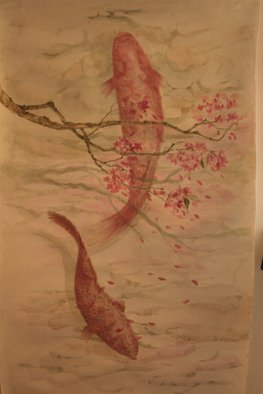 Racheal Yang; Fish And Sakura, 2008, Original Watercolor, 33 x 57 inches.