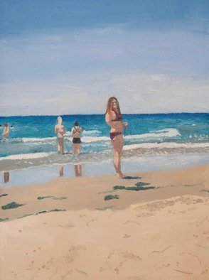 Rachel Stearns; Beach Day 2017, 2019, Original Painting Oil, 9 x 12 inches. Artwork description: 241 People at the Beach ...