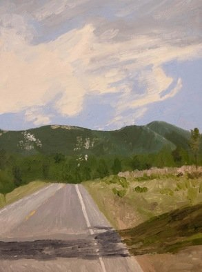 Rachel Stearns; Big Bear California 2017, 2019, Original Painting Oil, 9 x 12 inches. Artwork description: 241 Highway in California...