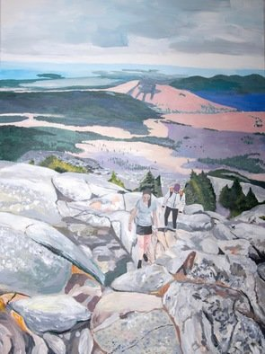 Rachel Stearns; Climbing Up Mt Monadnock, 2019, Original Painting Acrylic, 36 x 48 inches. Artwork description: 241 People climbing up Mount Monadnock...