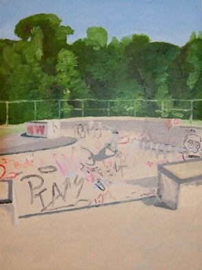 Rachel Stearns; North Hampton Skate Park 2018, 2019, Original Painting Oil, 9 x 12 inches. Artwork description: 241 Guy skating in a bowl...