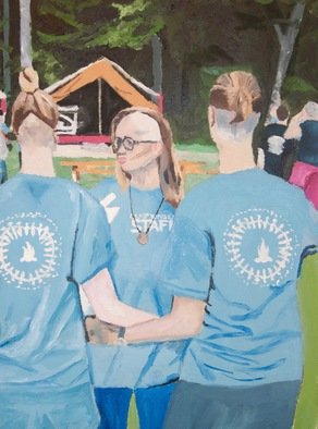 Rachel Stearns; Shaved Heads At Camp 2016, 2019, Original Painting Oil, 9 x 12 inches. Artwork description: 241 3 girls facing backwards in blue with their heads shaved...