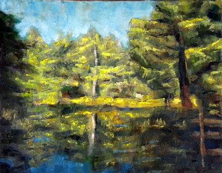 Dmitry Turovsky; Lake In Mohonk, 2014, Original Painting Oil, 2.5 x 2 feet. Artwork description: 241  lake in a forest ( at Mohonk Mountain Home, NY)   ...
