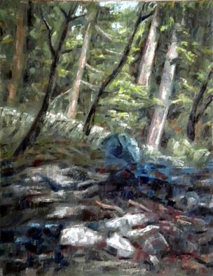 Dmitry Turovsky; Mohonk Waterfall, 2014, Original Painting Oil, 16 x 20 inches. Artwork description: 241  waterfall in the forest ( at Mohonk Mountain Home, NY)  ...
