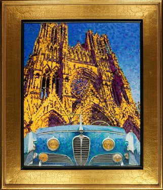 Radford Thomas; Two French Beauties, 2016, Original Painting Oil, 8 x 10 inches. Artwork description: 241 Giclee on CANVAS, NOTRE DAME, 1949 DELEHAYE, Type 175, Saoutchik Roadster, Gothic Cathedral, French Design...