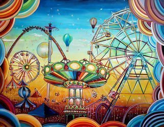 Radosveta Zhelyazkova; Fairground, 2019, Original Painting Oil, 130 x 100 cm. Artwork description: 241   Medium: Professional oil paint, UV protected varnish on canvas  Size: 100 x 130 x 3 cm  Style: Radism, Naive Art, Surrealism  100   handmade artwork  Date of creation: January 2019  Comes with a certificate of authenticity and an official stamp by the National Art Gallery - FREE  Comes with ...