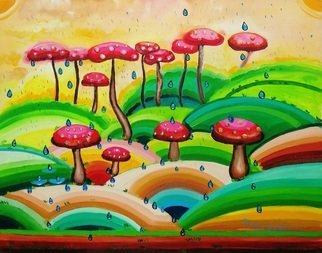 Radosveta Zhelyazkova; Mushroom Forest, 2018, Original Painting Oil, 50 x 40 cm. Artwork description: 241 FREE SHIPPING WORLDWIDE READY - TO - HANG100  HANDMADE ARTWORKName: Mushroom forest  Artist: Radosveta Zhelyazkova  Medium: Professional oil paint, UV protected varnish on canvas  Size: 50 x 40 x 2 cm  Style: Naive Art, Radism  Date of creation: January 2018  Comes with a certificate of authenticity and ...