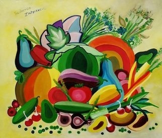 Radosveta Zhelyazkova; Vegetables, 2016, Original Painting Oil, 60 x 50 cm. Artwork description: 241 Details:  Name: Vegetables  Artist: Radosveta Zhelyazkova  Medium: Professional oil paint, UV protected varnish on canvas  Size: 60 x 50 x 1. 5 cm   24 x 20 inches  Style: Surrealism, Naive Art, Radism  Date of creation: September 2016  Comes with a certificate of authenticity and an official stamp ...