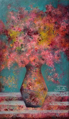 Rafail Aliyev; Flowers, 2018, Original Painting Oil, 60 x 35 cm. Artwork description: 241 Flowers...