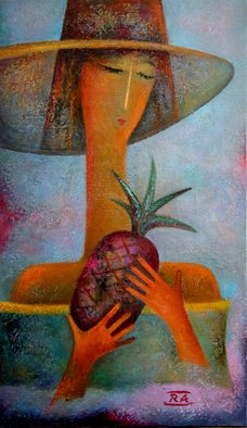 Rafail Aliyev; Girl With Pineapple, 2018, Original Painting Oil, 60 x 35 cm. Artwork description: 241 Girl with pineapple...