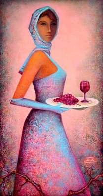 Rafail Aliyev; Grape And Wine, 2019, Original Painting Oil, 90 x 48 cm. Artwork description: 241 Girl carrying grapes and wine on a tray...