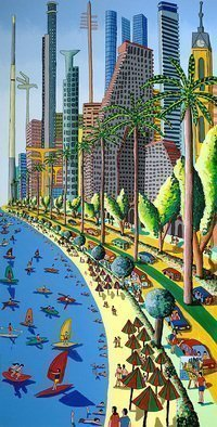 Raphael Perez  Israeli Painter ; Cityscape Landscape Painting, 2015, Original Painting Acrylic, 100 x 200 cm. Artwork description: 241 cityscape landscape painting urban landscapes paintings israeli artist raphael perez naive art painting ...