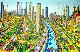 Raphael Perez  Israeli Painter ; Cityscape Naive Painter, 2013, Original Painting Acrylic, 250 x 160 cm. Artwork description: 241 cityscape naive painter raphael perez israeli artist urban naif paintings ...