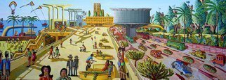 Raphael Perez  Israeli Painter ; Naive Art Painter, 2008, Original Painting Acrylic, 200 x 70 cm. Artwork description: 241 naive art painter raphael perez israeli artist painters folk artworks paintings naif artists urban landscape painting cityscape artwork...