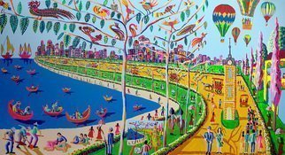 Raphael Perez  Israeli Painter ; Naive Art Paintings Folk, 2015, Original Painting Acrylic, 240 x 130 cm. Artwork description: 241 naive art, naive painting, naive painter, naive paintings, folk art, folk painting, folk paintings, landscape painting, landscape paintings, landscape art, landscape artists, ...