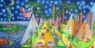 Raphael Perez  Israeli Painter ; Naive Folk Painter, 2011, Original Painting Acrylic, 200 x 100 cm. Artwork description: 241 naive folk painter raphael perez israeli artist naif artworks paintings new york city at night ...