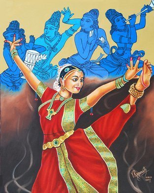 Ragunath Venkatraman; BHARATHANATYAM, 2011, Original Painting Oil, 18 x 24 inches. Artwork description: 241  BHARATHANATYAM  a mystic communion with GodThis Bharata Natyam dancers right hand is in the Katakamukha Hasta, the three joined fingers symbolizing the sacred syllable Aum. The left hands fingers are in Alapadma Hasta, the rotating lotus of spiritual light. The eyes are directed towards the Supreme Lord. ...