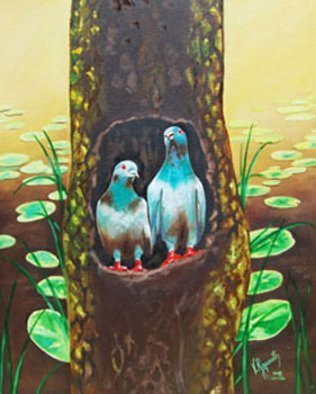 Ragunath Venkatraman; LOVE BIRDS, 2010, Original Painting Oil, 15 x 20 inches. Artwork description: 241  LOVEE BIRDSSIZE 1824. UNFRAMED. OIL ON CANVAS BOARD. PAYMENT ThroughPAYPAL WIRE TRANSFER  BANKERi? 1/2S CHEQUE.SHIPPING shipping worldwide within 7 working days after receiving the payment.PACKING All our paintings are professionally packed in the great care to ensure safe delivery thro International courier. ...