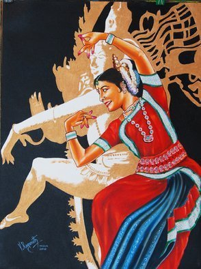 Ragunath Venkatraman; THE DIVINE DANCE OF ODISSI, 2010, Original Painting Oil, 18 x 24 inches. Artwork description: 241  Odissi dance originated in the temples of Orissa, India more than 2000 years ago. The dance was traditionally practiced as a sacred ritual to ignite transformation in the dancer and audience. Considered both a classical and devotional dance form, Odissi is graceful and sensuous, expressive and sophisticated. ...