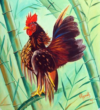 Ragunath Venkatraman; Crown Of The Serama Chicken, 2017, Original Painting Oil, 14 x 16 inches. Artwork description: 241 CROWN OF THE SERAMA CHICKENTastier than TastySerama chicken is very upright little bird, and itaEURtms breast is high and pushed upwards with the wings almost touching the ground. Because of their such appearance, they are described as brave warriors and archangel chickens in Malaysia. ...