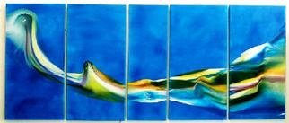 Alison Raimes; Ephemeral Transpositions 2, 2001, Original Painting Oil, 10 x 3 feet. Artwork description: 241 Oil and resin on canvas, 5 panelsContact