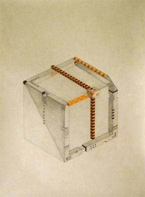 Dmitry Rakov, 'Cubic Clock', 2006, original Drawing Pencil, 20 x 28  inches. Artwork description: 1758 Cubic clock ( 9- 00) ( 2004- 2006)The style - IMP ART ( Impossible ART)Graphic: Indian ink + pencil + crayonPaper: stamping