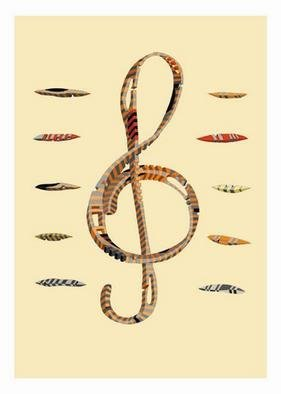 Dmitry Rakov, 'The Treble Clef', 2004, original Graphic Design, 13 x 17  inches. Artwork description: 1758 The treble clef, G clefThe style IMP ART ( Impossible ART) Paper: stamping Flax...