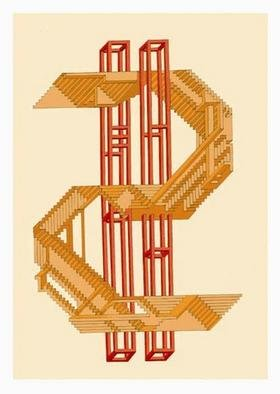 Dmitry Rakov, 'USD', 1998, original Graphic Design, 12 x 16  inches. Artwork description: 1758 USD ( Dollar)The artstyle - IMP ART ( Impossible ART)Paper: stamping