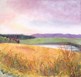 Randel Rogers; Brambles Above Cow Pond, 2012, Original Other, 35 x 37 inches. Artwork description: 241 Serenity of the countryside. Pastel sky colors and sweeping vistas. Oil on mounted canvas. ...