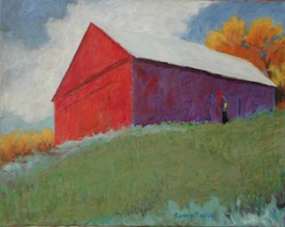 Randel Rogers; Red And Purple, 2013, Original Other, 30 x 24 inches. Artwork description: 241 Hilltop horse barn in Fall. Sky full of clouds. Oil on canvas ...